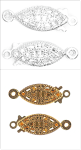 CF01\611 Filigree Box Clasp: Plated: 5 Packs of 2 - Full Colour Range